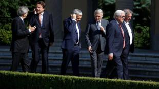 Los seis ministros de relaciones exteriores reunidos este sábado 25 de junio en la Villa Borsig, al norte de Berlín.
