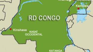 Carte de la RDC : la ville de Tshikapa se trouve dans le Kasaï.