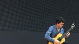 Arturo Castro Nogueras performs at the Maison du Mexique in Paris, September 2017