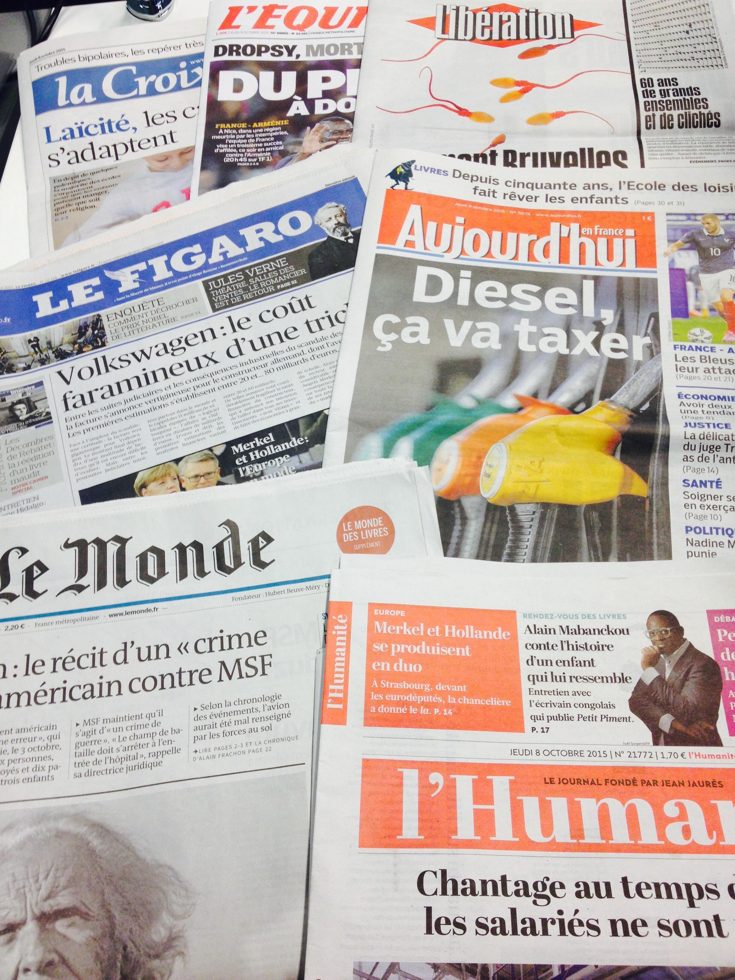 Primeira páginas dos diários franceses de 8/10/2015