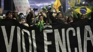 Manifestación en Sao Paulo, este 17 de junio de 2013.