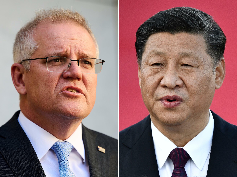 Una imagen de Scott Morrison (izq) el 17 de agosto de 2021 en Canberra y otra de Xi Jinping el 18 de diciembre de 2019 en Macao (China)