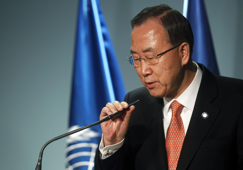 Генсек ООН Пан Ги-мун на пресс-конференции в Андорре 02/04/2013