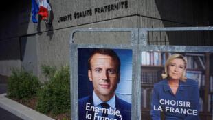 Hotunan 'yan takaran Zaben Faransa Emmanuel Macron da Marine Le Pen