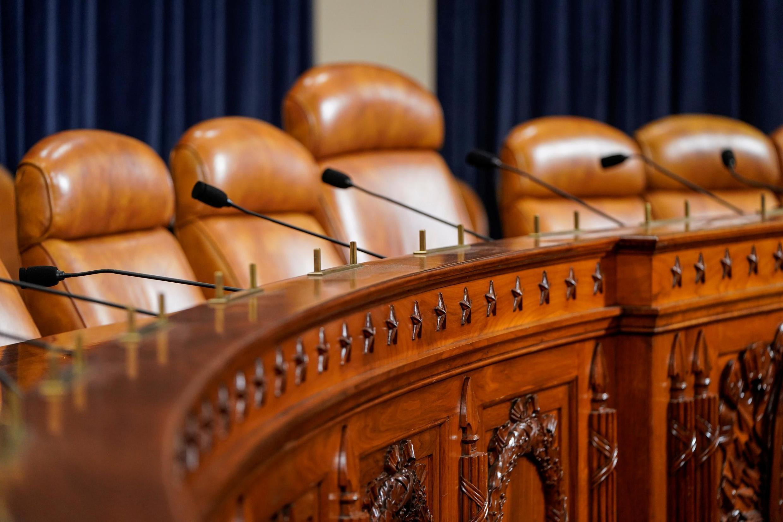 Phòng họp của ủy ban điều tra Hạ Viện, nơi công chúng được phép vào theo dõi các cuộc thẩm vấn theo thủ tục phế truất tổng thống, Washington, Mỹ. Ảnh chụp ngày 06/11/2019