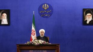 Rais wa Iran Hassan Rohani, katika mkutano wake wa kwanza na waandishi wa habari tangu kuchaguliwa kwake tena mjini Tehran, Mei 22.
