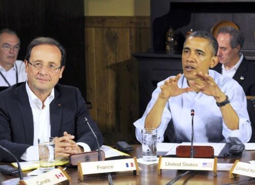 Ma Rais wa Ufaransa Frncois Hollande na Barack Obama wa Marekani
