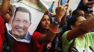 Partisans de Hugo Chavez en meeting à Caracas, le 17 septembre 2012.