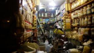 Une boutique du souk d'Alep avant sa destruction.