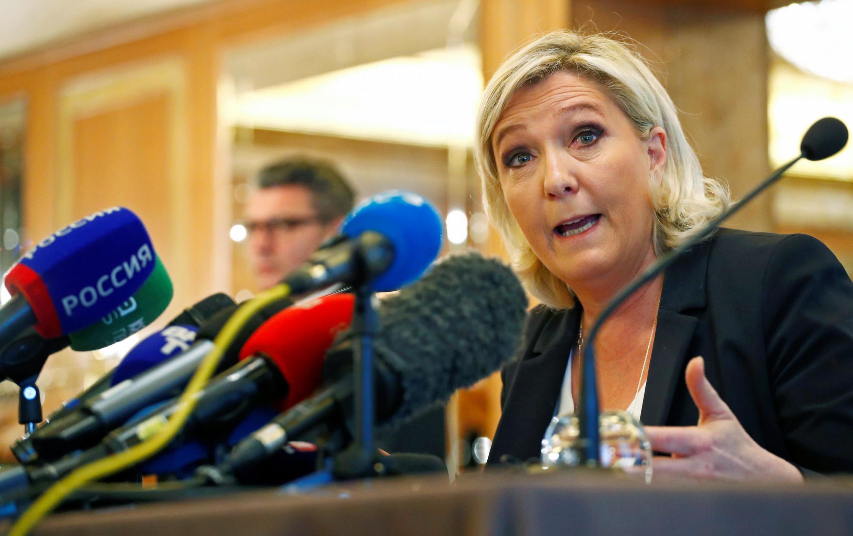 Marine Le Pen lors d'une conférence de presse à Milan, en Italie, le 18 mai 2019.