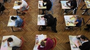 Students taking the philosophy exam, the session of the baccalaureate, on 17 June 2019, at a school in Strasbourg.