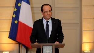 François Hollande annonçant l'engagement de la France aux côtés de l'armée malienne. A l'Elysée, le 11 janvier 2013.