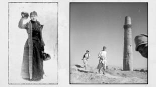 De gauche à droite, Nellie Bly, globe trotteuse américaine de la fin du 19e siècle ©Library of Congress. Et Hérat en Afghanistan capturé en 1939 par la voyageuse et écrivaine suisse Annemarie Schwarzenbach  ©Wikimedia.