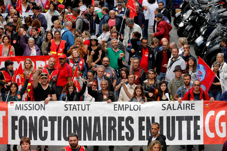 Công chức Pháp tại Marseille biểu tình ngày 22/05/2018.
