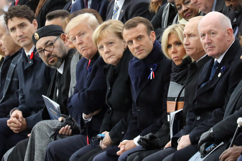 حضور دونالد ترامپ و ولادیمیر پوتین در مراسم بزرگداشت یکصدمین سالگرد پایان جنگ جهانی اول که در پاریس برگزار شد. یکشنبه ٢٠ آبان/ ١١ نوامبر ٢٠۱٨