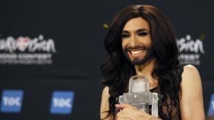 Пбедительница Евровидения-2014 Кончита Вурст из Австрии в Копегагене 11 мая 2014