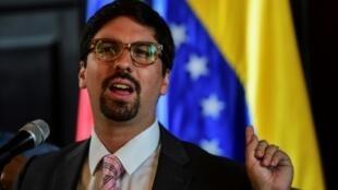 El diputado opositor Freddy Guevara, vicepresidente de la Asamblea Nacional de Venezuela, en rueda de prensa en Caracas, el 23 de julio de 2017