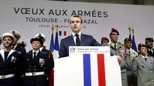 Emmanuel Macron addressing the army in his New Year speech in Francazal, 17 January 2019.