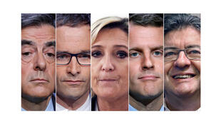 ۵   نامزد انتخابات ریاست جمهوری فرانسه (از راست به چپ): ژان لوک ملانشون؛ امانوئل ماکرون؛ مارین لوپن؛ بنوا هامون؛ فرانسوا فیّون