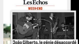 Revista Les Echos do fim de semana traz em destaque o músico João Gilberto.