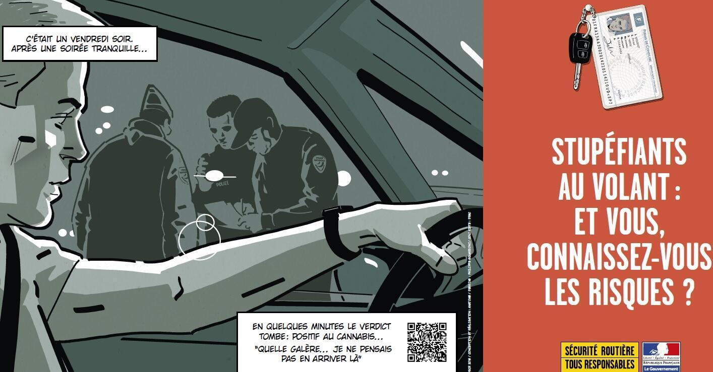 Cartaz da campanha do governo francês contra o uso de entorpecentes ao volante.