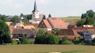 Village français de Berstett, dans le département du Bas-Rhin, à l'est de la France.