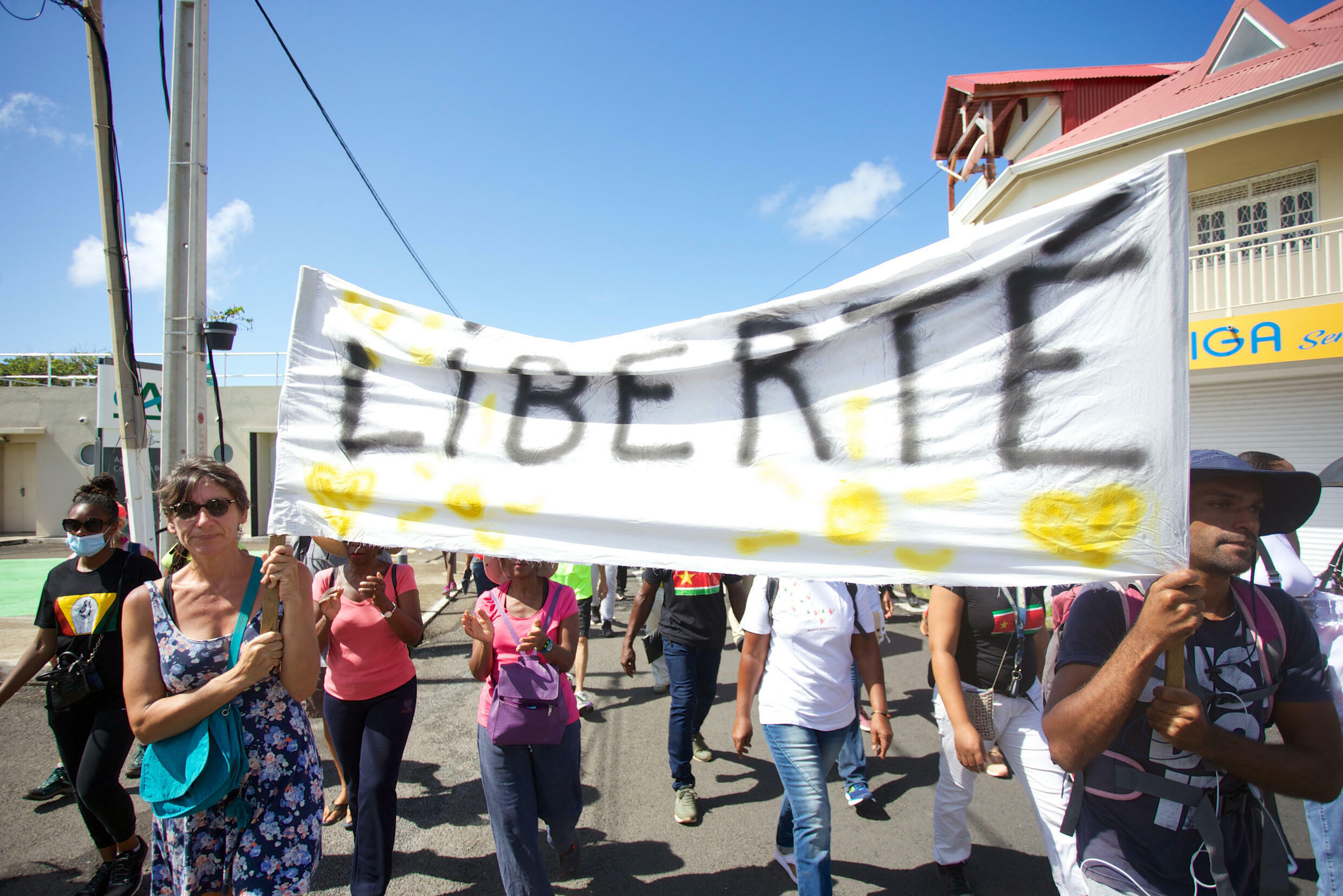A protest against mandatory Covid vaccinations in French overseas territory of Guadeloupe