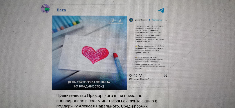 Анонс акции «Любовь сильнее страха» исчез из аккаунтов правительства Приморья вскоре после появления.