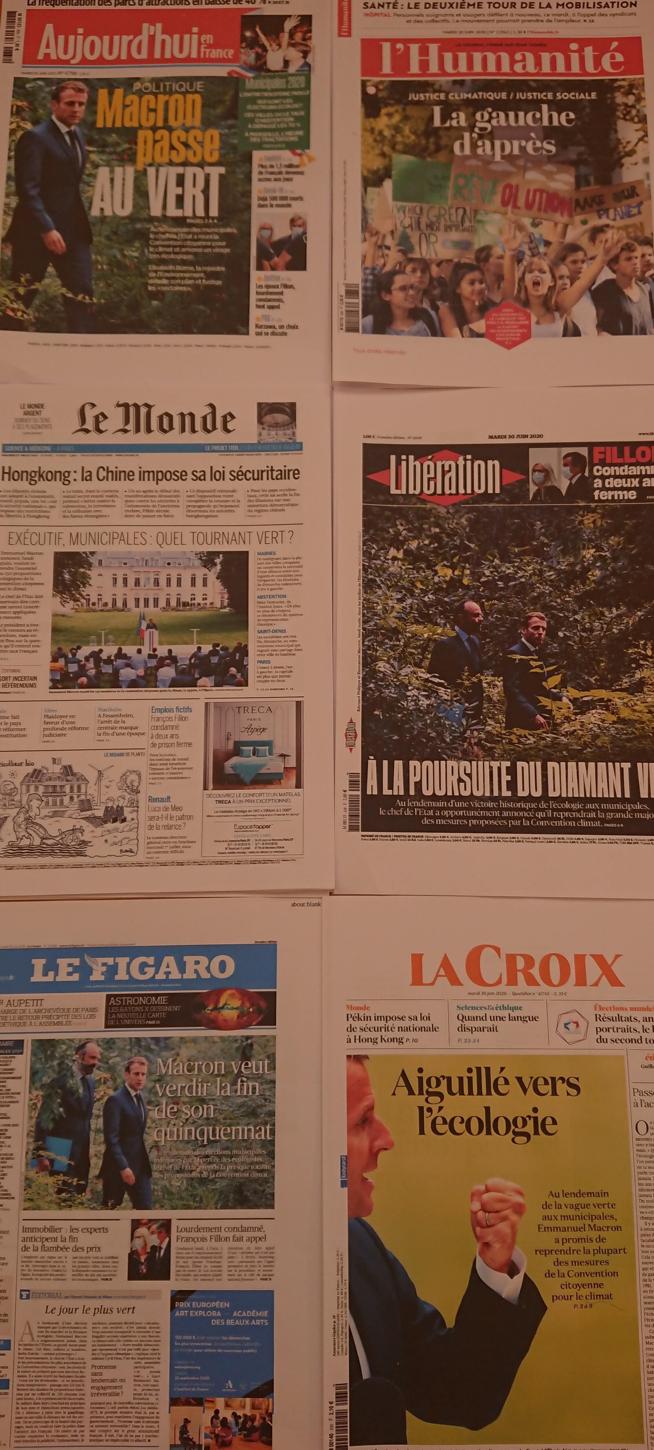 Primeiras páginas de  diários franceses 30 06 2020