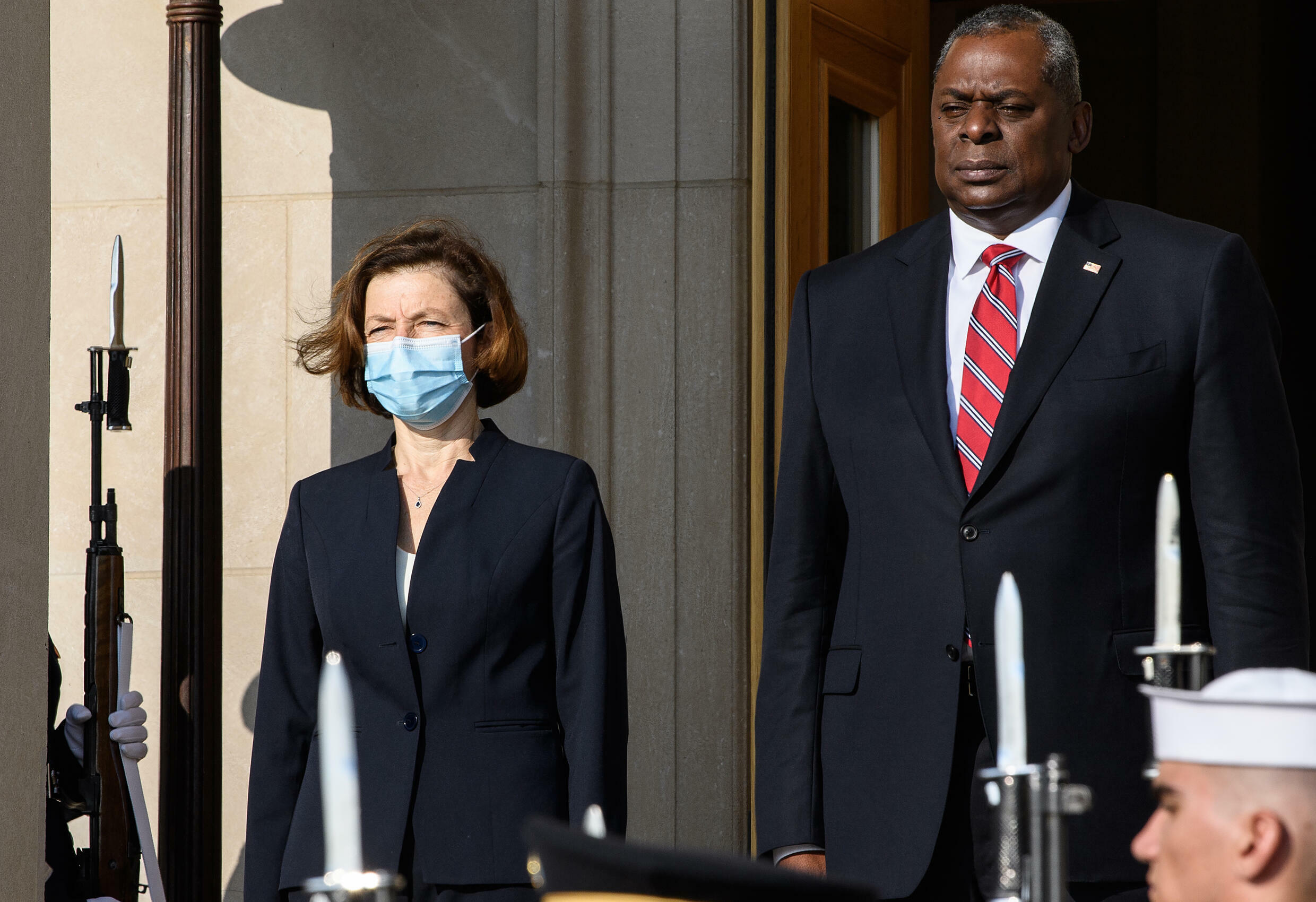 US Defense Secretary Lloyd Austin greets French Defense Minister Florence Parly for talks at the Pentagon