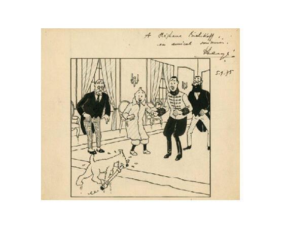 """布魯塞爾米雍出版社丁丁歷險記目錄並有埃爾熱親筆簽名的銷售目錄的拍照。 作者埃爾熱1939年7月20日以中國墨汁及藍鉛筆畫繪製成靈感來自德國歷史的丁丁歷險記第8集""""奧托卡王的權杖""""的封面圖。"""