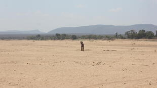 The bed of the Mandrare river in the south of Madagascar, completely dried up in December 2020.