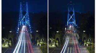 A ponte Lions Gate no Canadá, antes e depois da Hora do Planeta, em 2013.