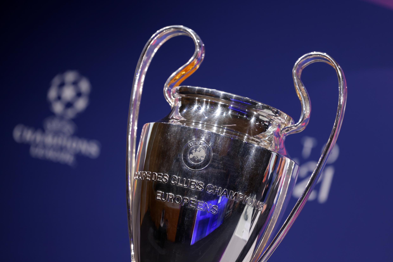 La Copa de Europa, antes del sorteo de los cuartos de final de la Liga de Campeones realizado en la sede de la UEFA, el 19 de marzo de 2021 en la ciudad suiza de Nyon