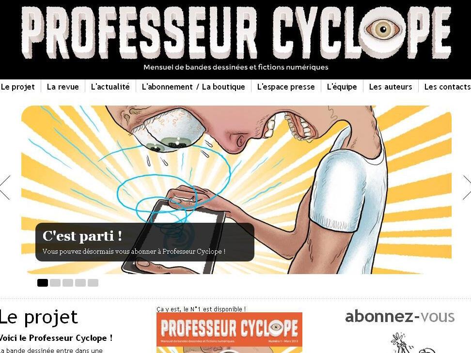 Capture d'écran du site internet de «Professeur cyclope», la nouvelle revue de bande dessinée numérique.