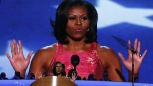 A primeira-dama, Michelle Obama, durante discurso na Convenção do Partido Democrata nesta terça-feira, nos Estados Unidos.