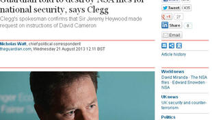 Reproduçãoo da matéria publicada no site do The Guardian nesta quarta-feira, dia 21 de agosto, sobre a destruição dos documentos enviados ao jornal por Edward Snowden.