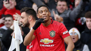 Le Français Anthony Martial a inscrit un but lors de la victoire de Manchester United face à Manchester City, le 8 mars 2020.