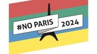 """Símbolo do movimento """"Não aos Jogos Olímpicos 2024"""""""