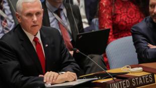 Le vice-président américain Mike Pence s'est adressé aux Nations unies sur le Venezuela, le 10 avril 2019.