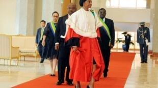 Marie-Madeleine Mborantsuo, la présidente de la Cour constitutionnelle gabonaise, le 27 septembre 2016 à Libreville.