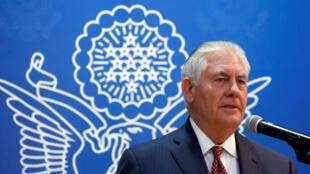 Le secrétaire d'Etat américain Rex Tillerson, dimanche 22 octobre 2017 à Riyad, lors de sa mission dans le Golfe pour «contrecarrer» l'influence «négative» de l'Iran.