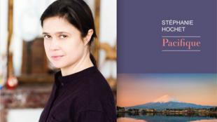 Photographie portrait de l'écrivaine Stéphanie Hochet et couverture de son livre «Pacifique», paru chez Rivages.