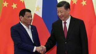 Tổng thống Philippines Rodrigo Duterte và chủ tịch Trung Quốc Tập Cận Bình tại Bắc Kinh ngày 25/04/2019.