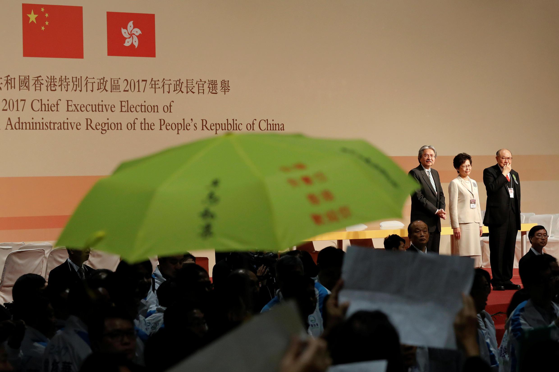 圖為香港宣布特首選舉投票結果儀式現場