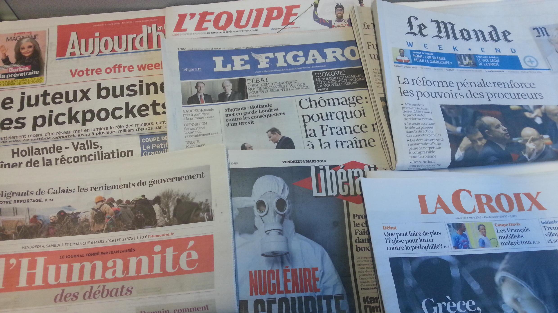 Primeiras páginas dos jornais franceses de 04 de março de 2016
