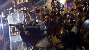 香港警方在銅鑼灣2019年8月4日