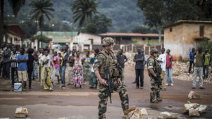 French troops from Operation Sangaris on patrol in Bangui. 30 May 2014.