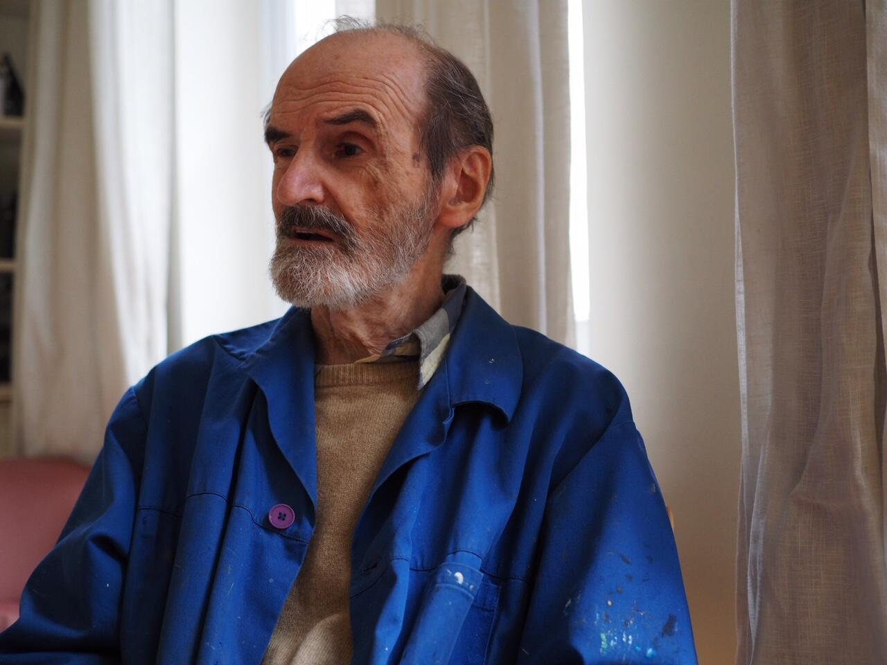 Эрик Булатов в своей парижской мастерской, январь 2017
