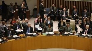 Os membros do Conselho de Segurança da ONU durante reunião em Nova York